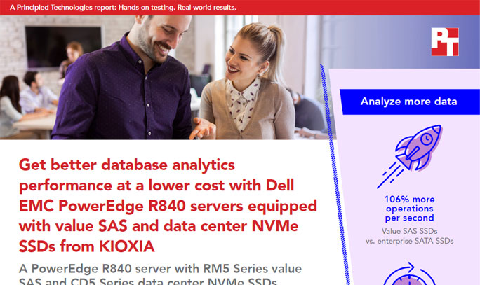 Principle Technologies: Get Better Database Analytics Performance at a Lower Cost with Dell EMC PowerEdge R840 Servers Equipped with Value SAS and Data center NVMe SSDs from KIOXIA (Full Report)